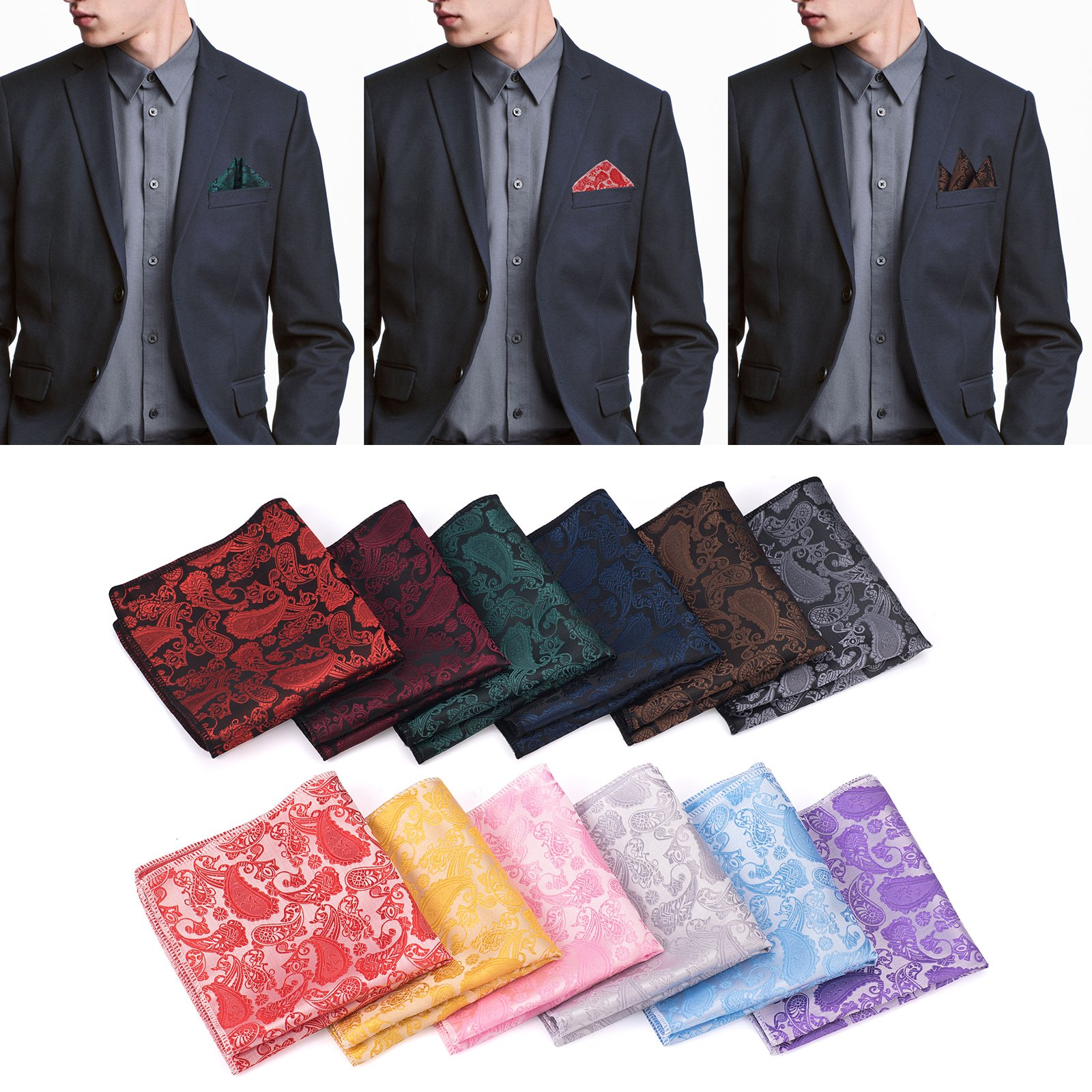 12 PCS Mens Square Handkerchief Printing patterns Pocket for Wedding Party(Pack of 12) by DanDiao (Image #2)