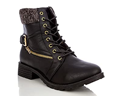 Women's Lace-Up Sweater Ankle Padded Military Combat Hiking Work Boots with Side Zipper Pocket