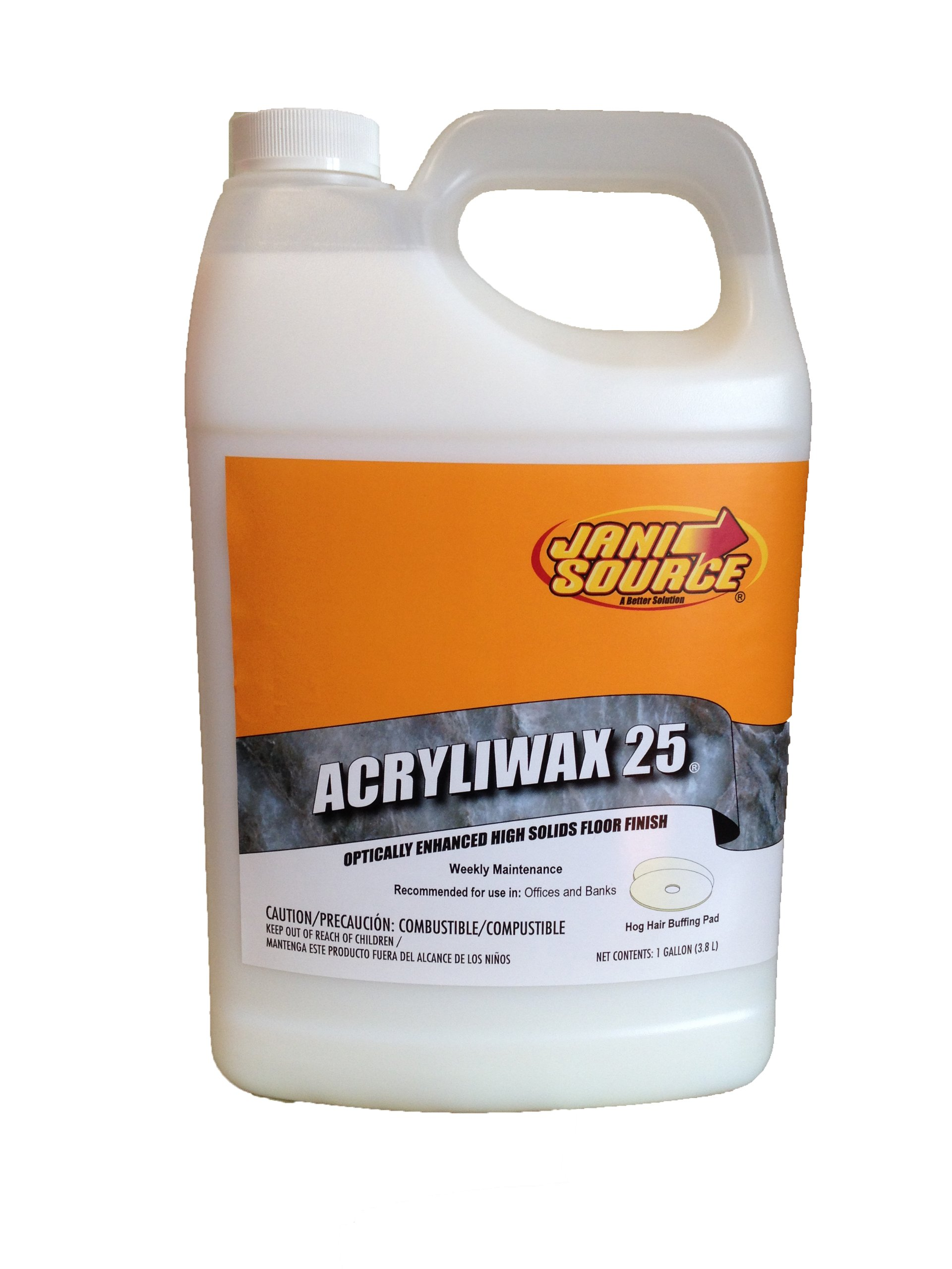 JaniSource 10107500 Acryliwax 25 High Solid Floor Wax, 1 Gallon Bottle (Pack of 4)
