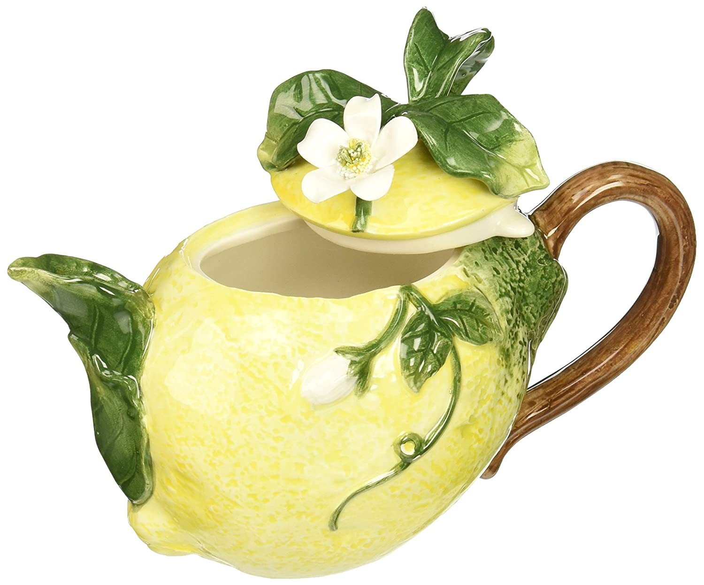 Amazon.com: CG 801-46 Lemon Shaped Teapot with White Blossom top ...
