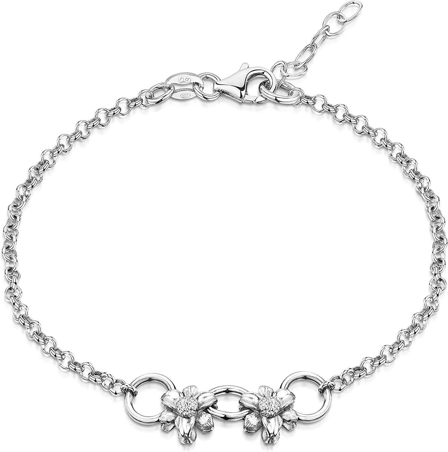 Chains with Hearts and Flowers Flexible Fit Amberta 925 Sterling Silver Adjustable Bracelet 7 to 8 inch