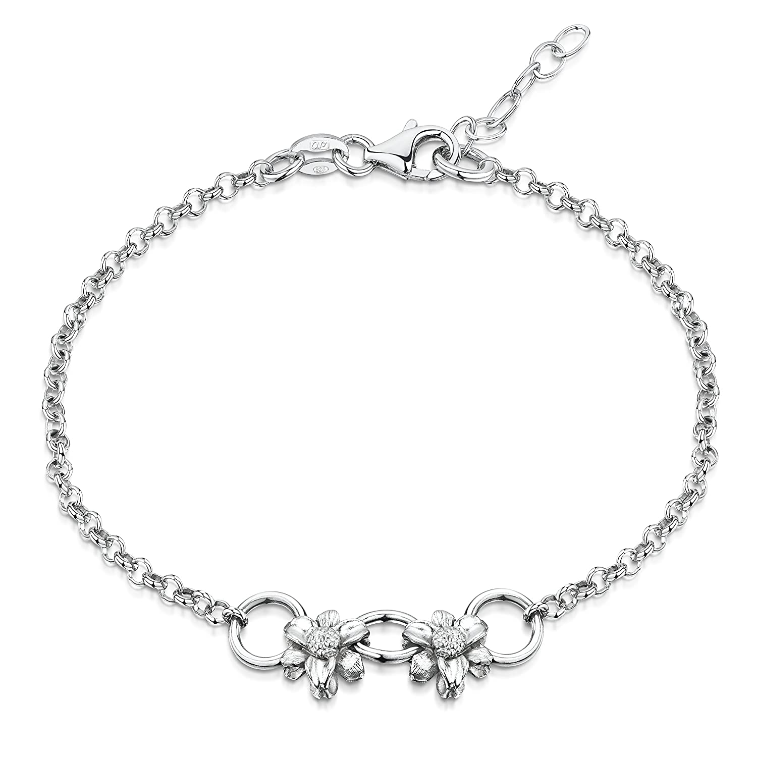 Amberta 925 Sterling Silver Adjustable Ankle Bracelet - Chain 9 to 10 inch - Flexible Fit TIE-S925-ANK-013