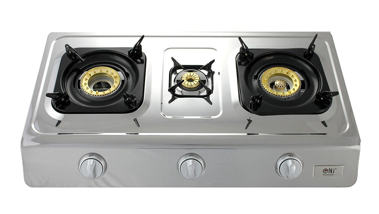 NJ NGB-300 - Hornillo de gas (acero inoxidable, 3 fuegos, función de wok): Amazon.es: Jardín