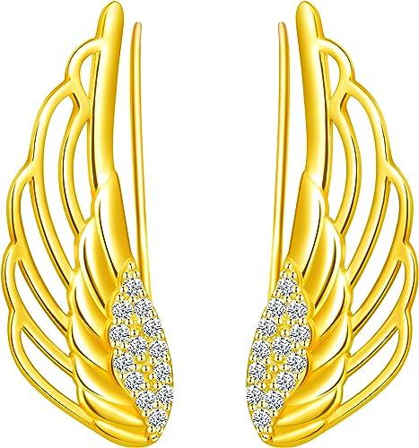 Yumilok -Pendinetes de Alas de ángel para Mujer Niña, en Plata 925, Clip de Oreja de Circón Pendientes de Escalada, Regalo de Cumpleaños de Navidad