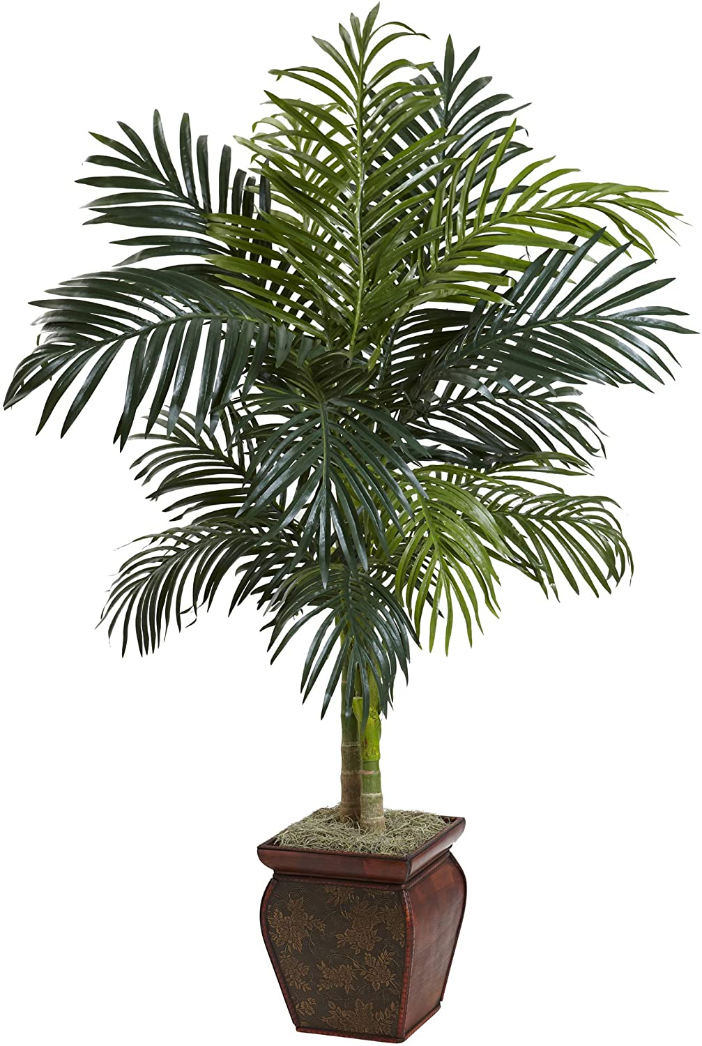 Nearly Natural 5937 4.5ft. Golden Cane Palm with Decorative Container