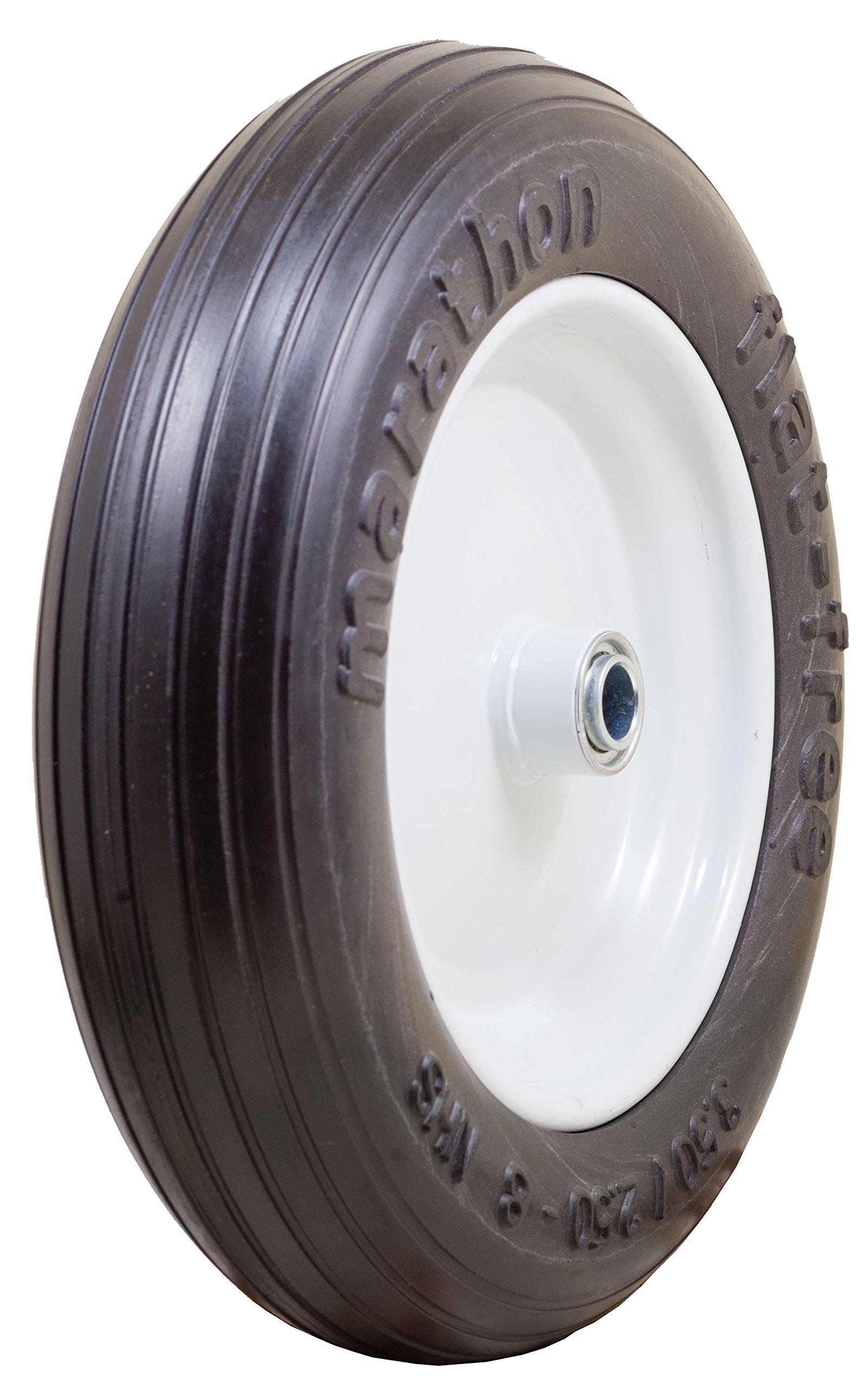 Marathon 3.50/2.50-8'' Flat Free Tire on Wheel, 3'' Centered Hub, 3/4'' Bearings by Marathon Industries