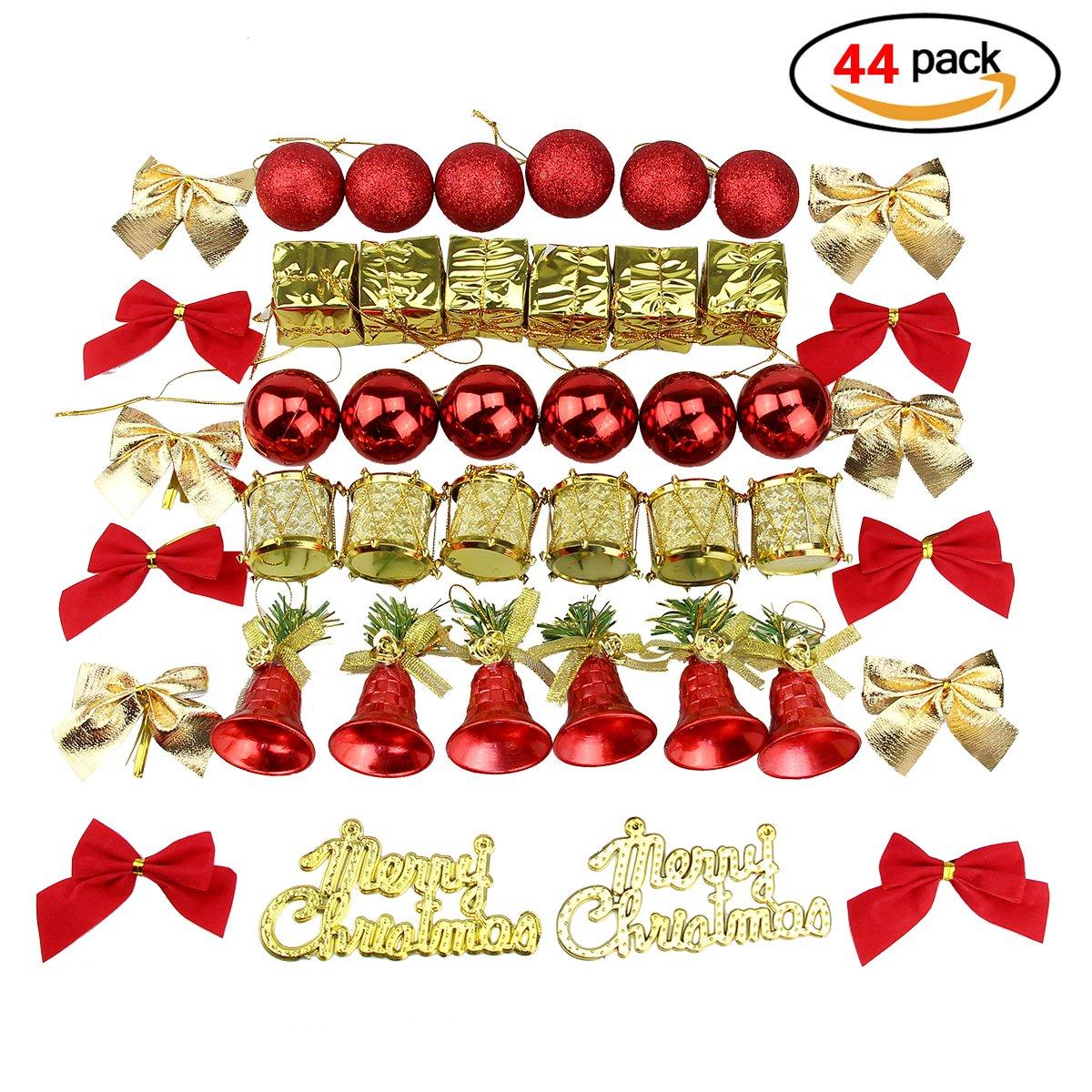 confezione assortita 44 infrangibili con rosso decorativo delle palle di natale jingle bells batteria e altri natale ciondolo doro Decorazioni per lalbero di natale