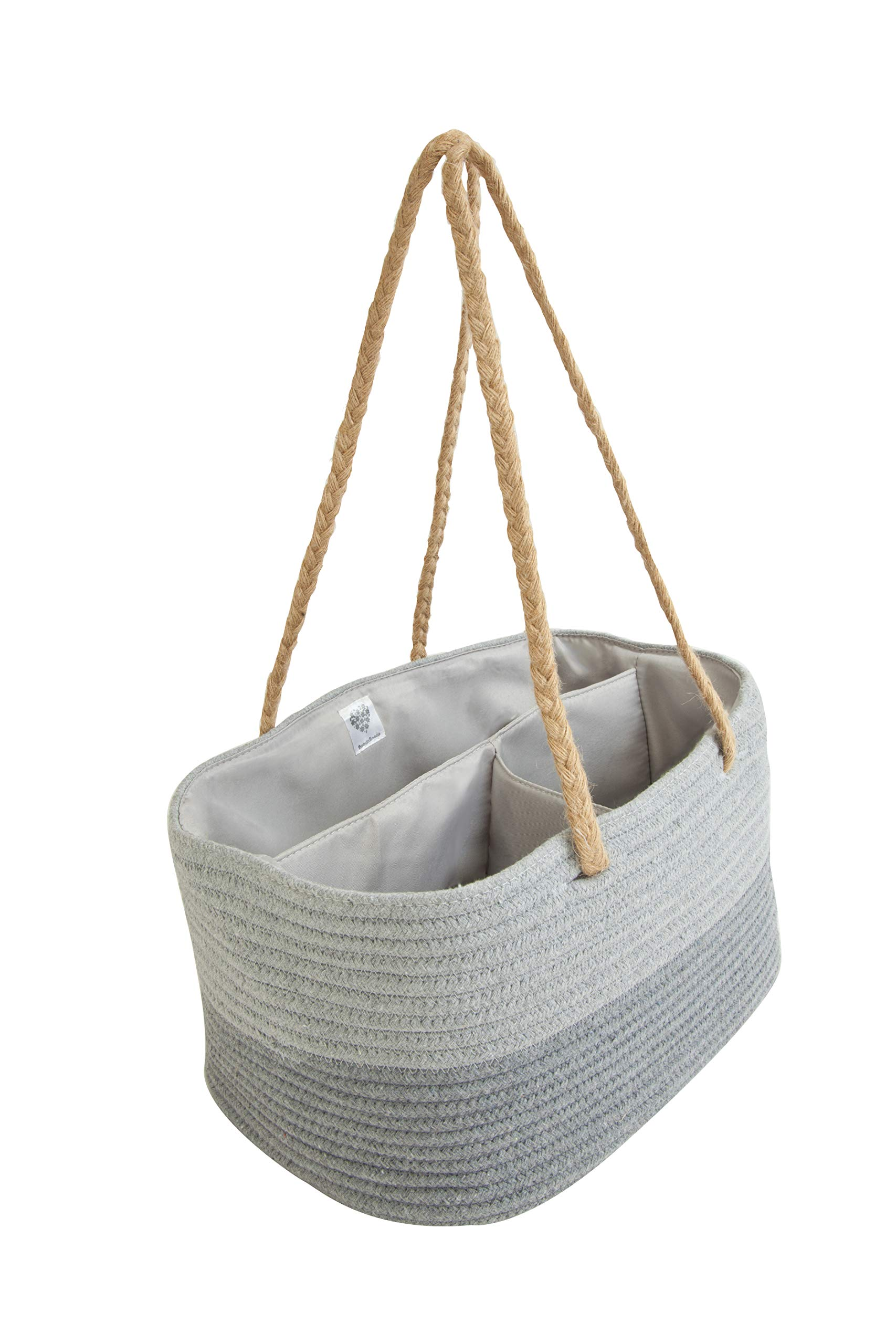 BoodaBooda Diaper Caddy Organizer | Cotton Rope Grey Storage Basket | Portable Diaper Organizer | Nursery Storage Basket | Baby Essentials Car Organizer by BoodaBooda