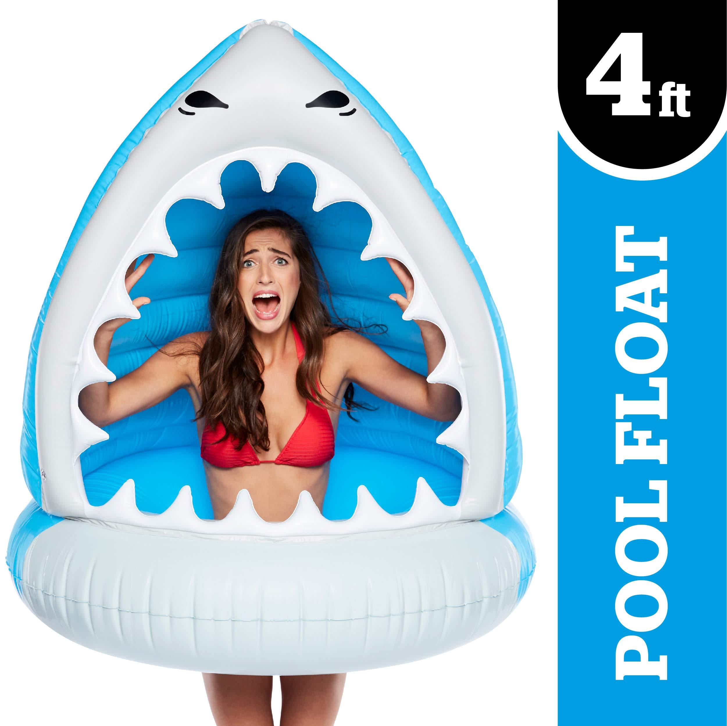 BigMouth Inc. Giant Man-Eating SharkPool Float -Gigantic 4 Foot Pool Float, Funny Inflatable Vinyl Summer Pool or Beach Toy, Patch Kit Included by BigMouth Inc