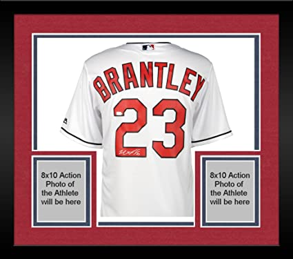 Framed Michael Brantley Cleveland Indians Autographed Majestic White ...