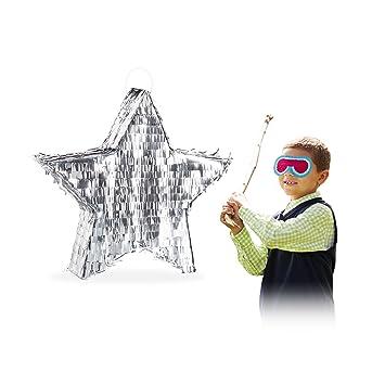 Relaxdays- Piñata Estrella sin Relleno, Papel, Plateada, 43 ...