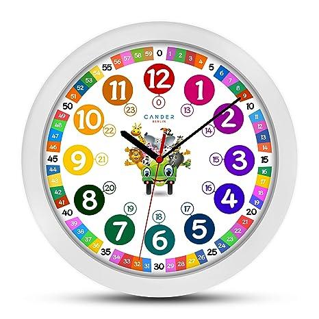 ONETIME Reloj de Pared para niños Colorido con diseño de Animales y Mecanismo silencioso, Aprender
