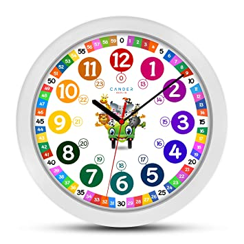 ONETIME Reloj de Pared para niños Colorido con diseño de Animales y Mecanismo silencioso, Aprender Las Horas, 30,5 cm de diámetro: Amazon.es: Hogar