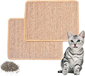 PATTNIUM 2PCS Cat Scratching Mat Cat Scratch pad Anti-Slip Cat Scratcher Rug Natural Sisa Kitty Scratch Pad Bed for Cat Grinding & Protecting Furniture and Carpet Pack of 2