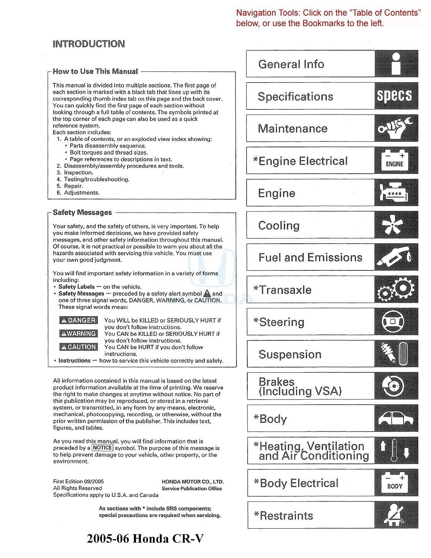 Bishko Automotive Literature 2005 2006 Honda Cr V Shop Electrical Wiring Diagram 1996 Service Repair Manual Cd W Etm Oem