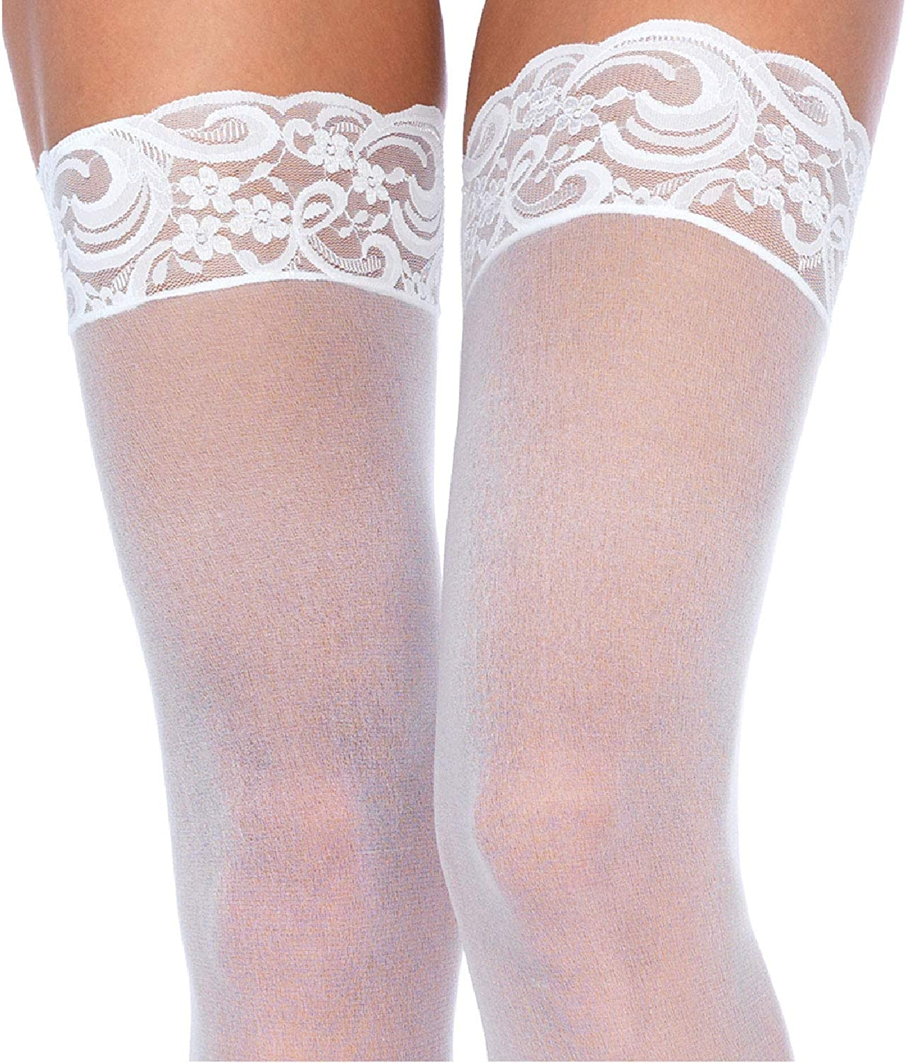 Nylon Sheer Thigh High With Lace Top: Clothing
