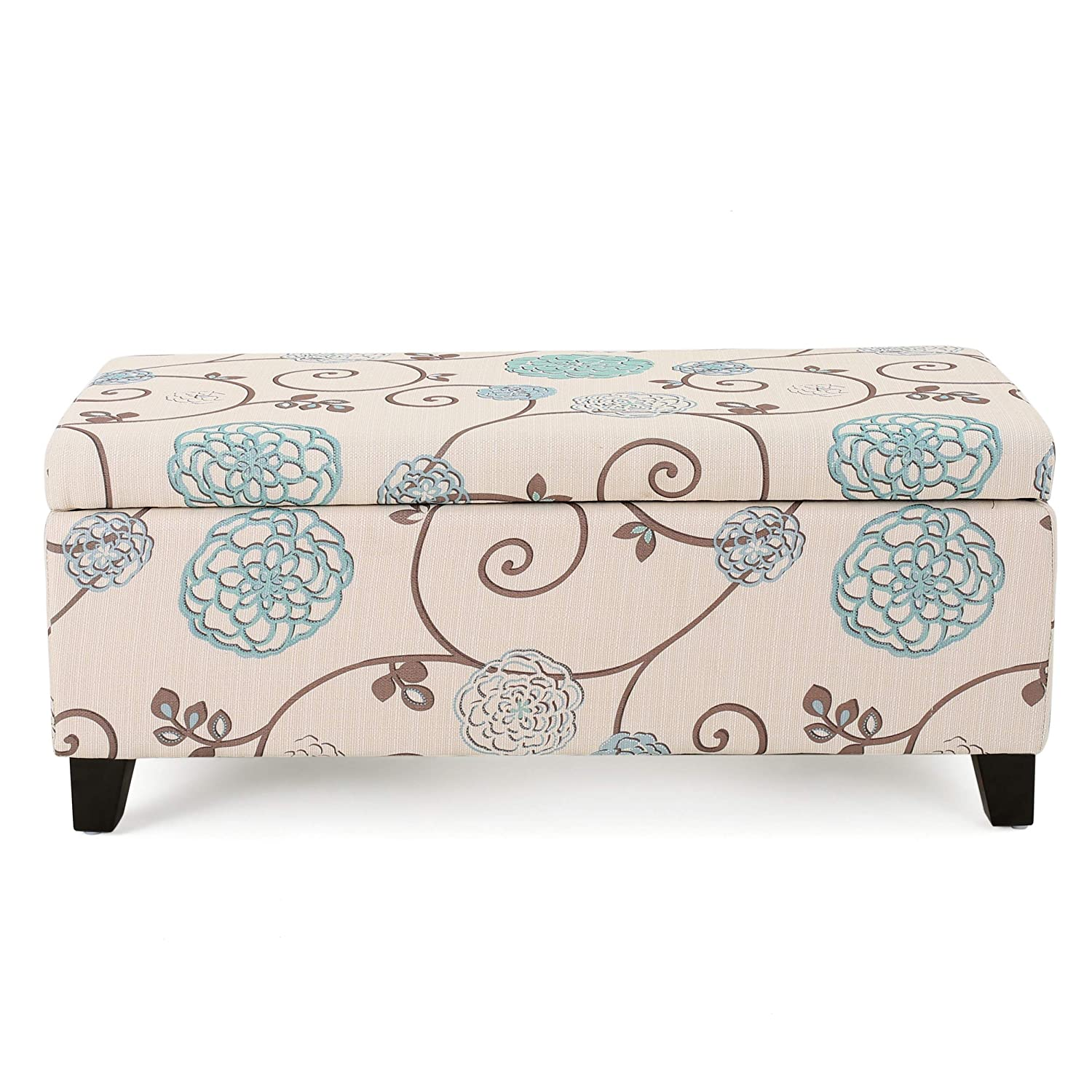 Strange Christopher Knight Home Living Brenway Pattern Fabric Storage Ottoman 19 00L X 38 50W X 16 00H White And Blue Floral Gmtry Best Dining Table And Chair Ideas Images Gmtryco