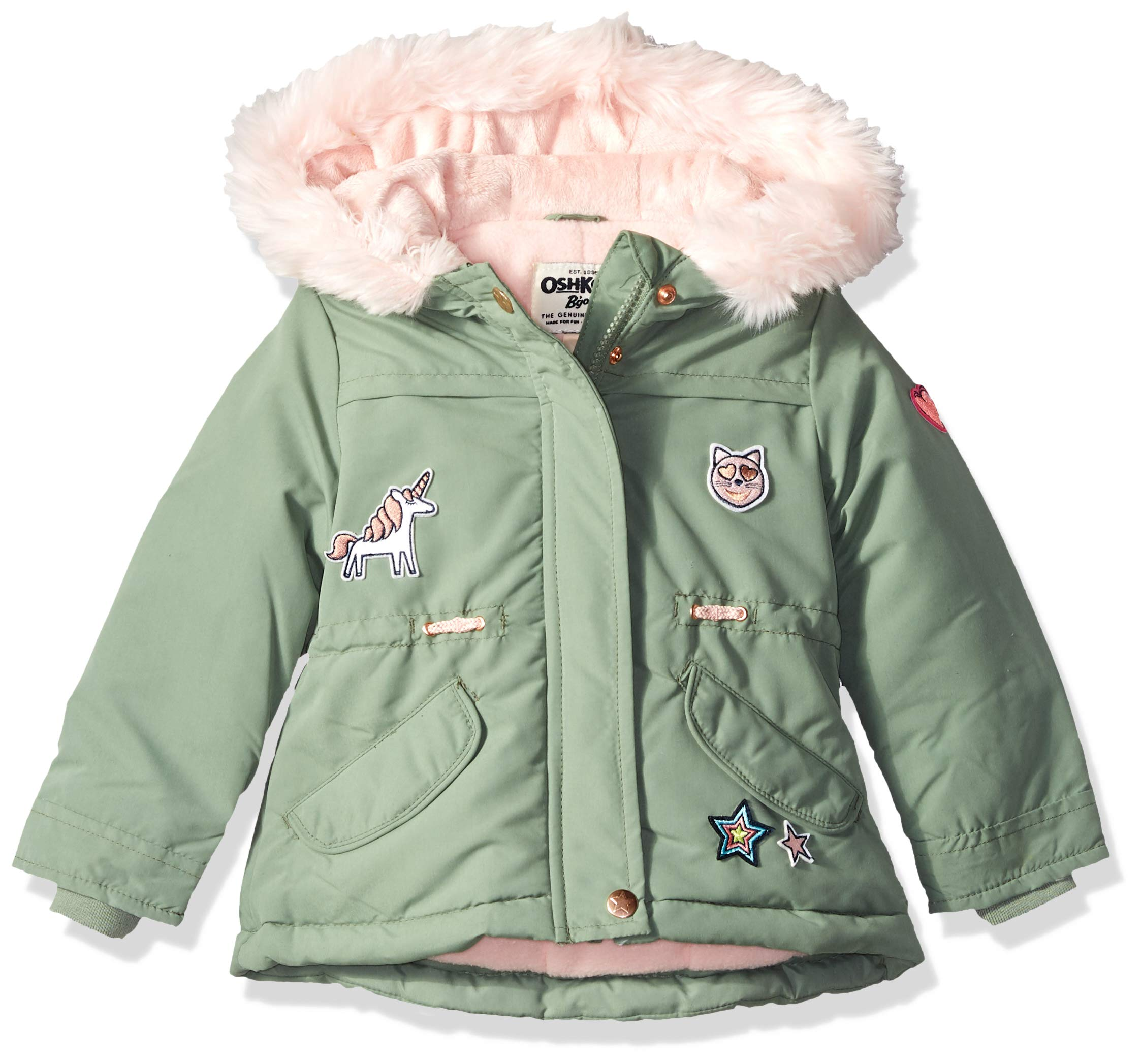 Osh Kosh Toddler Girls' Pretty Cool Parka Jacket, Acadia Green/Grace Pink Patches, 4T