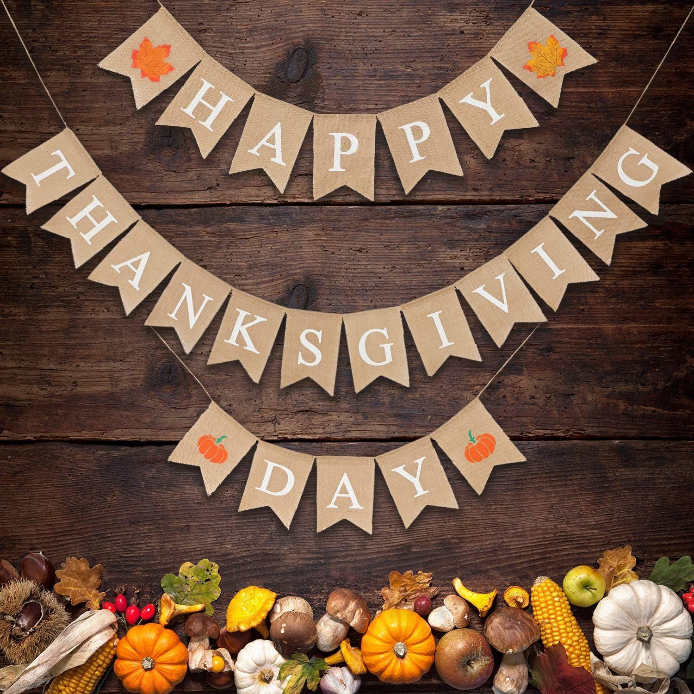 SUNBEAUTY 2 Thanksgiving Day Girlande Herbst Dekoration Truthahn Banner Erntedankfest Deko