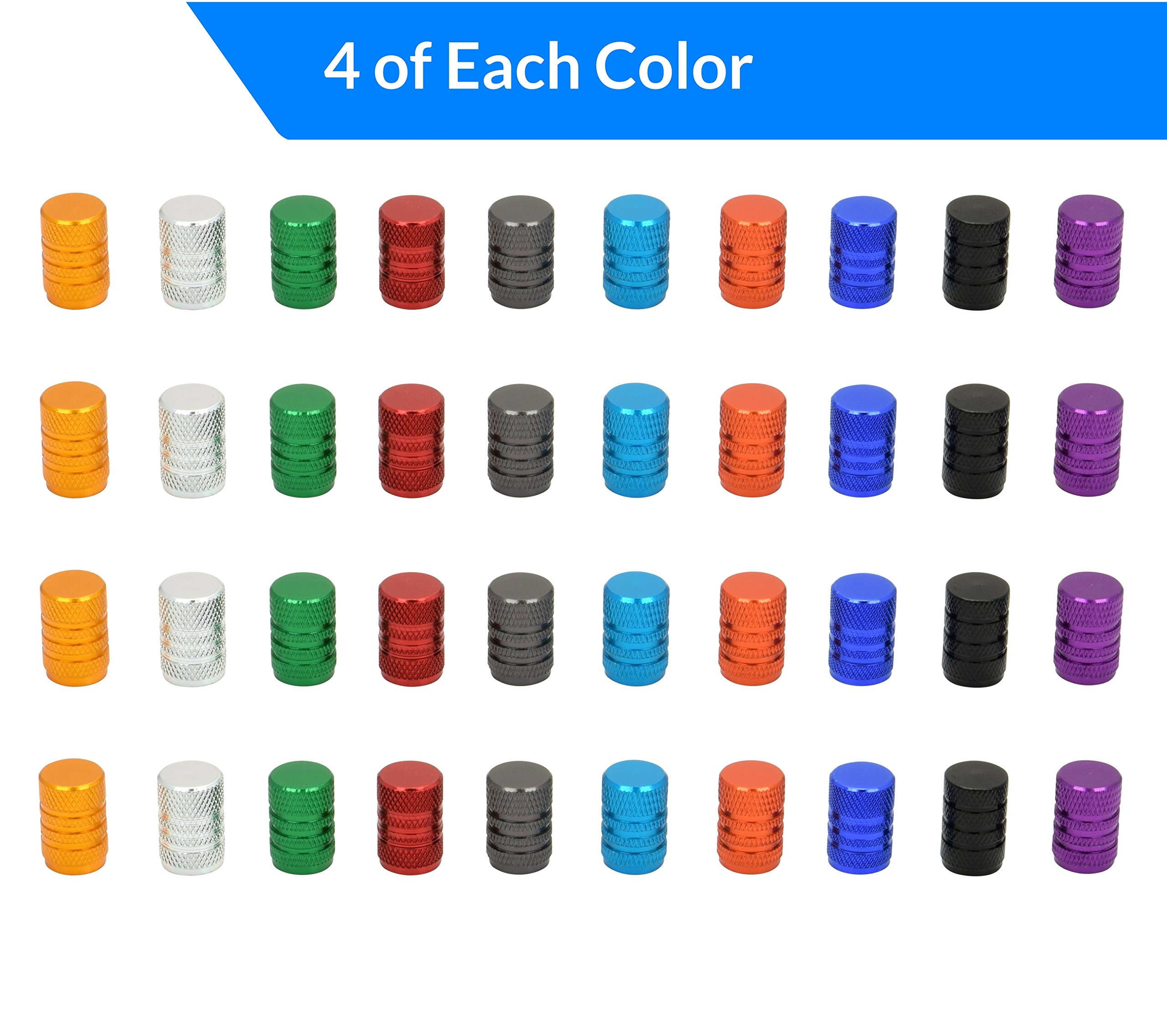 Domain Cycling 40pcs Schrader Tire Valve Caps, Knurled Multi Color Anodized Machined Aluminum Alloy Bicycle Bike Tire Valve Caps Dust Covers