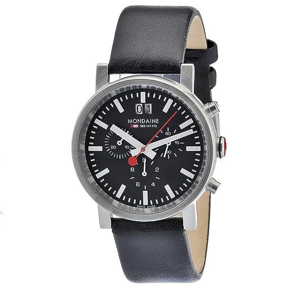 Mondaine SBB Evo Chronograph 40mm A6903030414SBB Reloj de pulsera Cuarzo Hombre correa de Cuero Negro: Amazon.es: Relojes