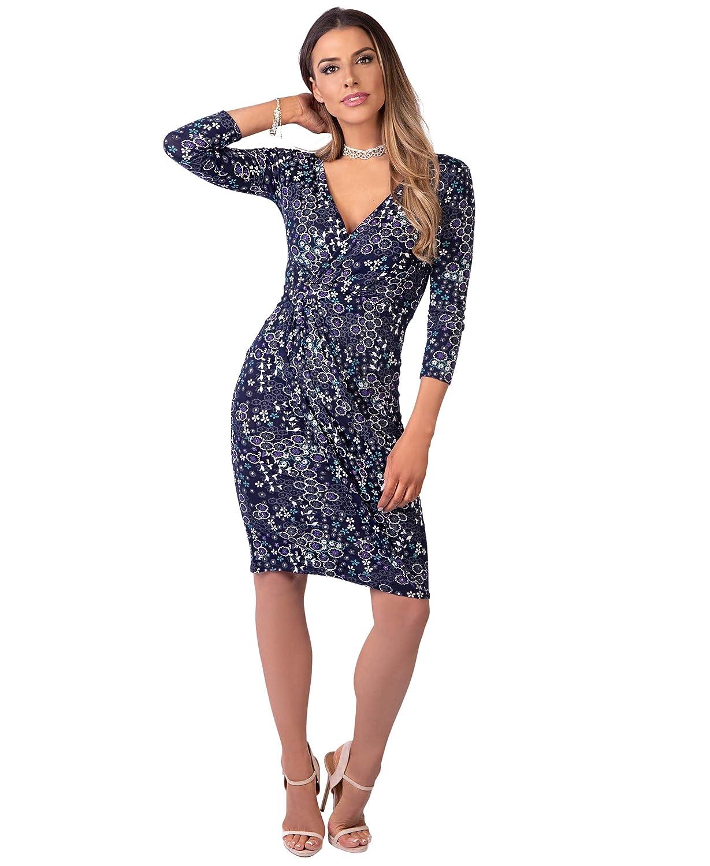 KRISP/® Women Wrap Front Dress Crossover 3//4 Sleeve Stretch Winter Red