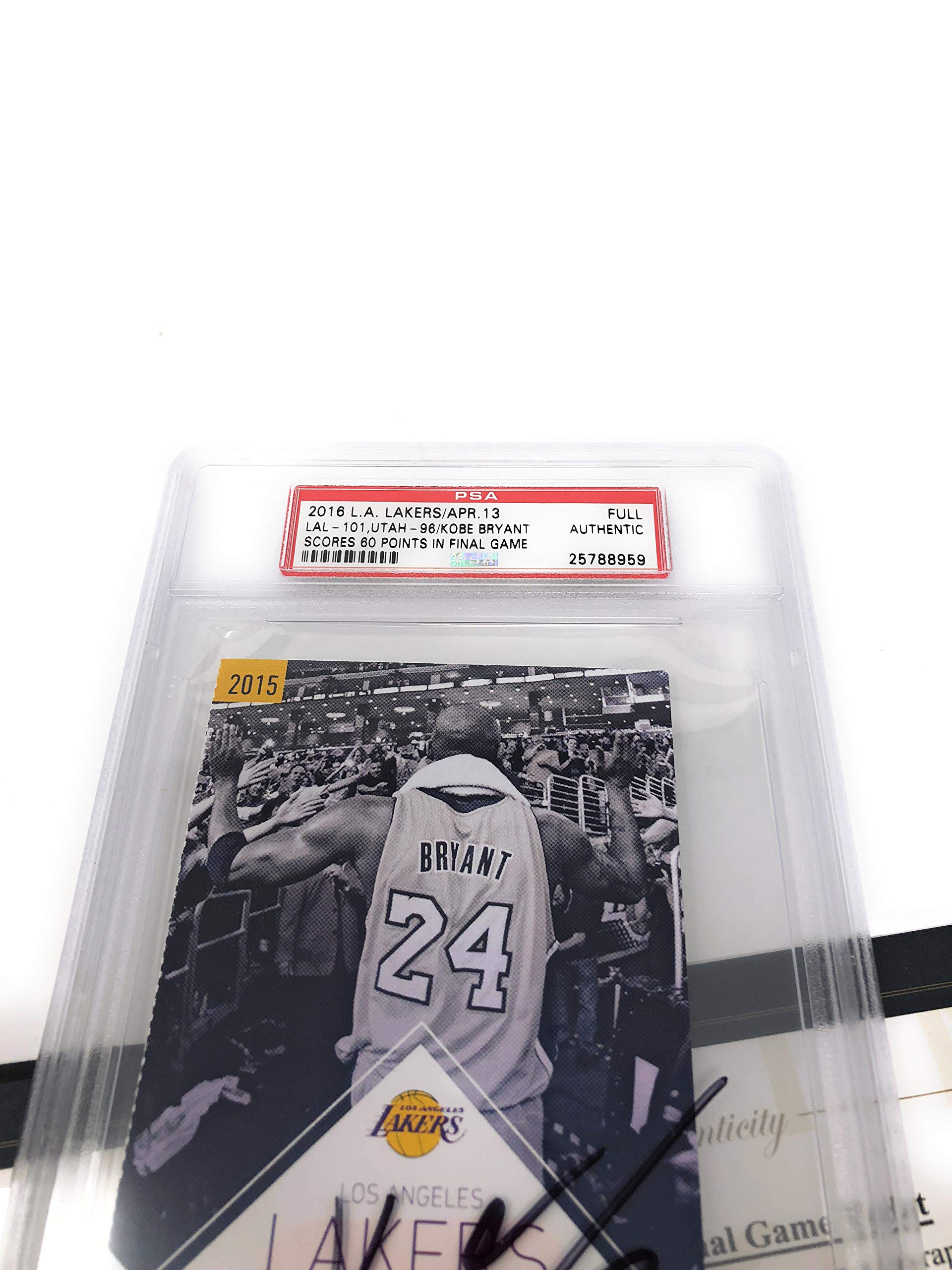 Kobe Bryant Los Angeles Lakers Signed Autograph Final Game Ticket PSA & Panini Authentic Certified