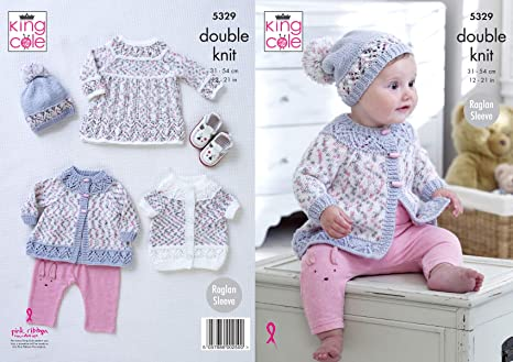 King Cole 5329 Knitting Pattern. Dress Coat, Cardigan & Hat