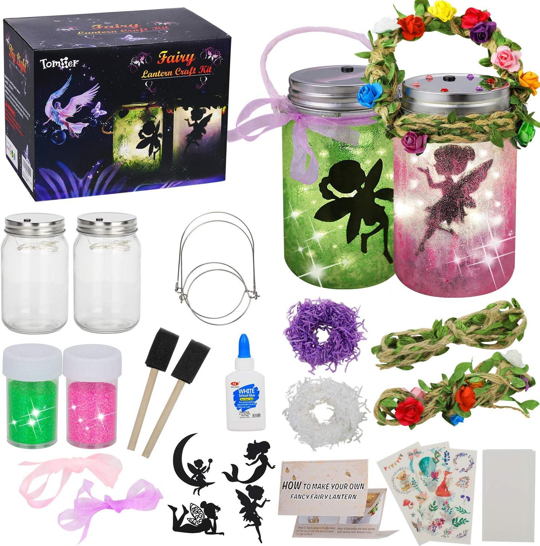 tomser Fairy Lantern Craft Kit, Unique Color DIY Fairy Jar Night Lights Craft Princess Fairy Lantern Jars Arts and Crafts for Kids Mason Jar Fairy Lantern as Party Bedroom Garden Light & Present