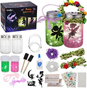 tomser Fairy Lantern Craft Kit, Unique Color DIY Fairy Jar Night Lights Craft Princess Fairy Lantern Jars Arts and Crafts for Kids Mason Jar Fairy Lantern as Party Bedroom Garden Light & Gift