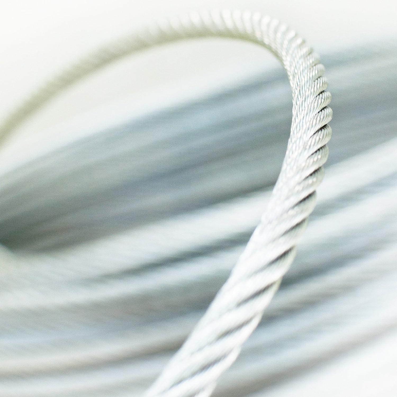 DQPP 100m acero cuerda de alambre 3mm galvanizado EN 12385-4 6x19+FC