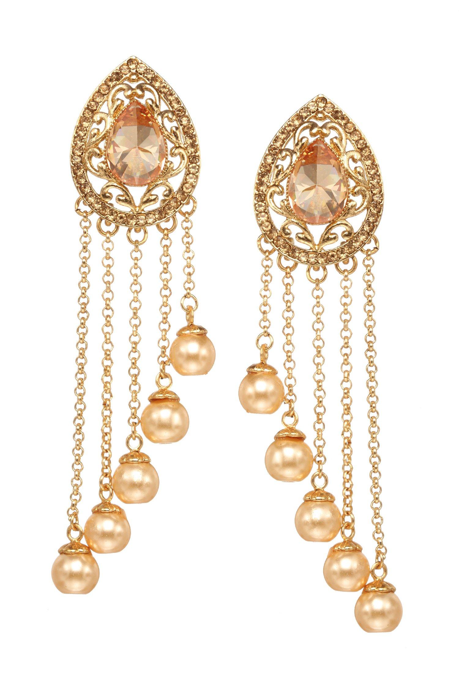 Bindhani Quality Indian Jewelry Bollywood Style Wedding Chandbali Bahubali Chain Pearl Earrings For Women
