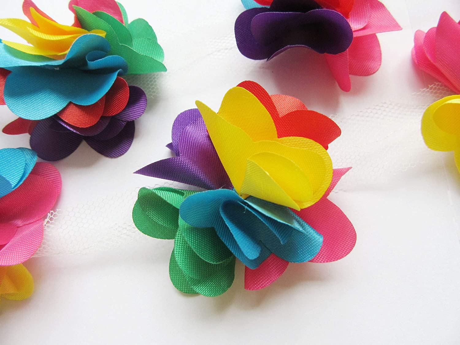 Hot Pink YYCRAFT 5 Yards 2.5 3D Chiffon Flower Lace Trims Bridal Bouquets Cluster Flower DIY Sewing