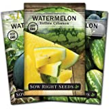 Sow Right Seeds - Watermelon Seed Collection for Planting - All Sweet, Sugar Baby, and Yellow Crimson Watermelons. Non-GMO Heirloom Seeds to Plant a Home Vegetable Garden