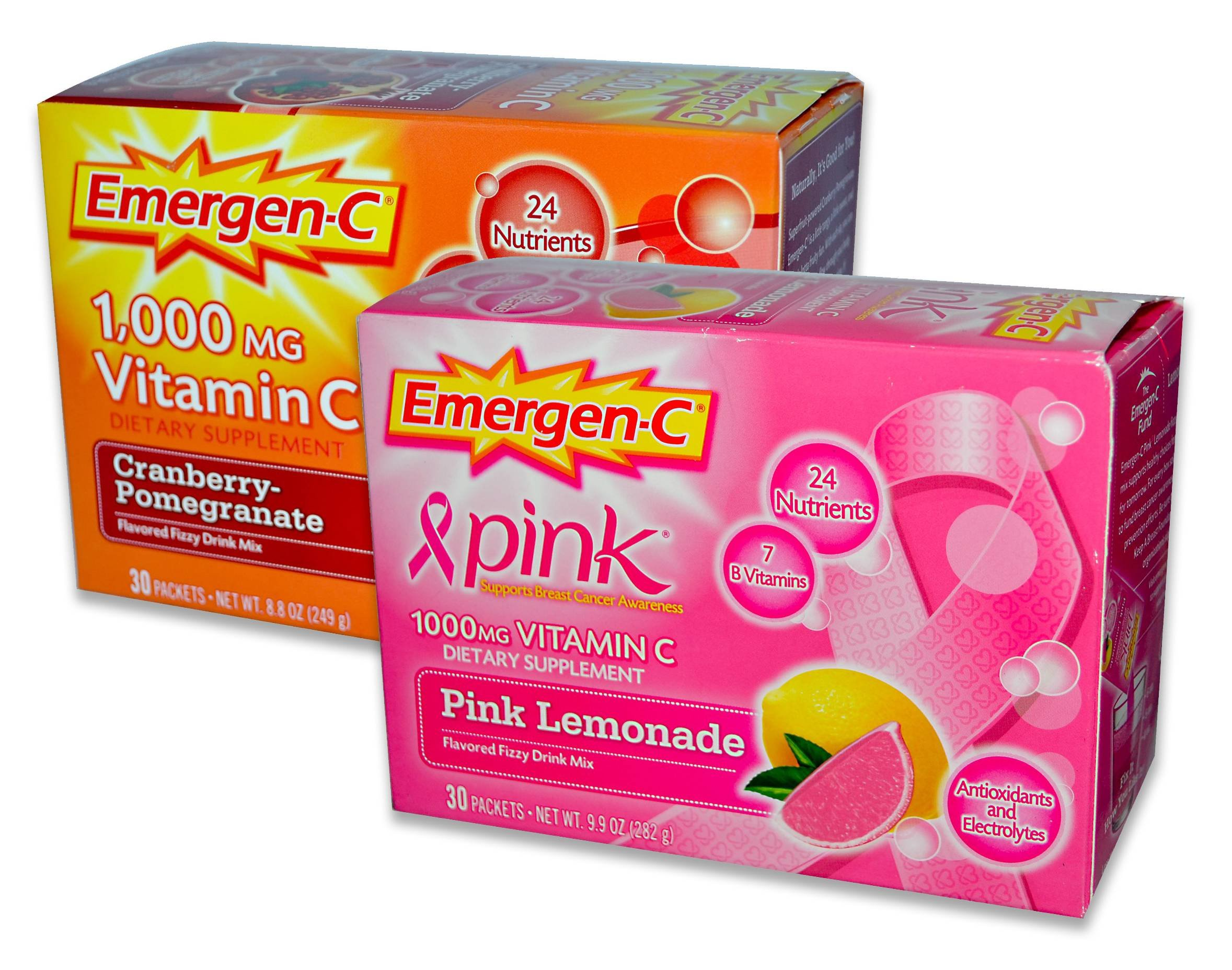 EmergenC, Cranberry-Pomegranate/Pink Lemonaide, 30 Packets (Pack of 2)