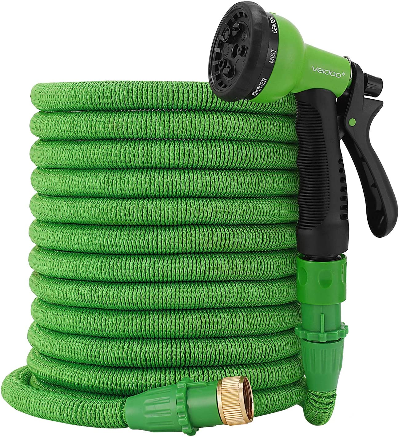 Veidoo Garden Hose,Expandable Hose,75ft with 8 Pattern Spray Nozzle,No Leaking with Innovation Joint, High Pressure Flexible for All Your Watering,Car Wash Use,Shower pet (Green)