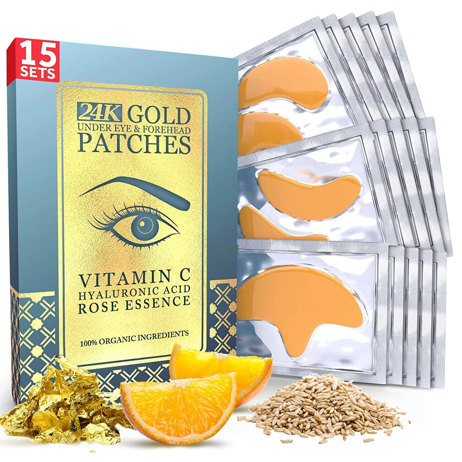 Under Eye and Forehead 24K Gold Patches - Anti-Aging Collagen Hyaluronic Acid Pads Helps Reducing Puffiness & Wrinkles & Dark Circles Bags - Gel Bags With No Parabens, Hidden Chemicals, Side Effects: Beauty