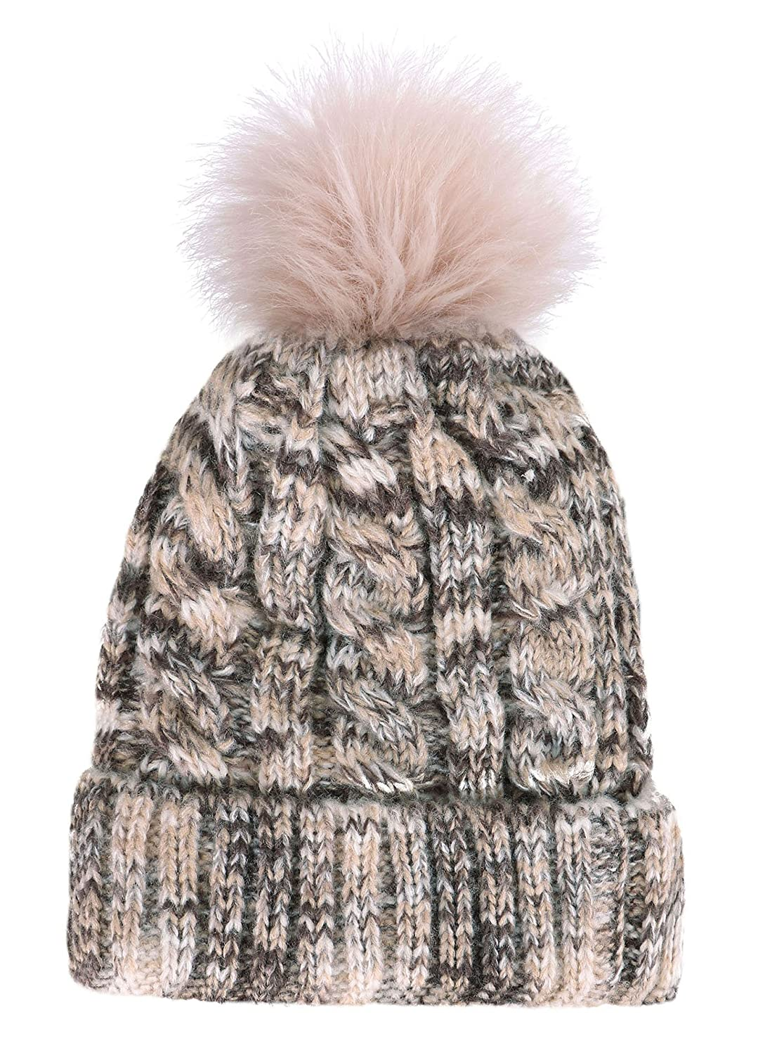 c4304d88d6e EPGU Women s Heathered Cable Knit Pom Pom Beanie Hat With Sherpa Lined