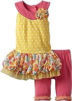 Little Lass Baby Girls' 2 Piece Dress Set with Flowers