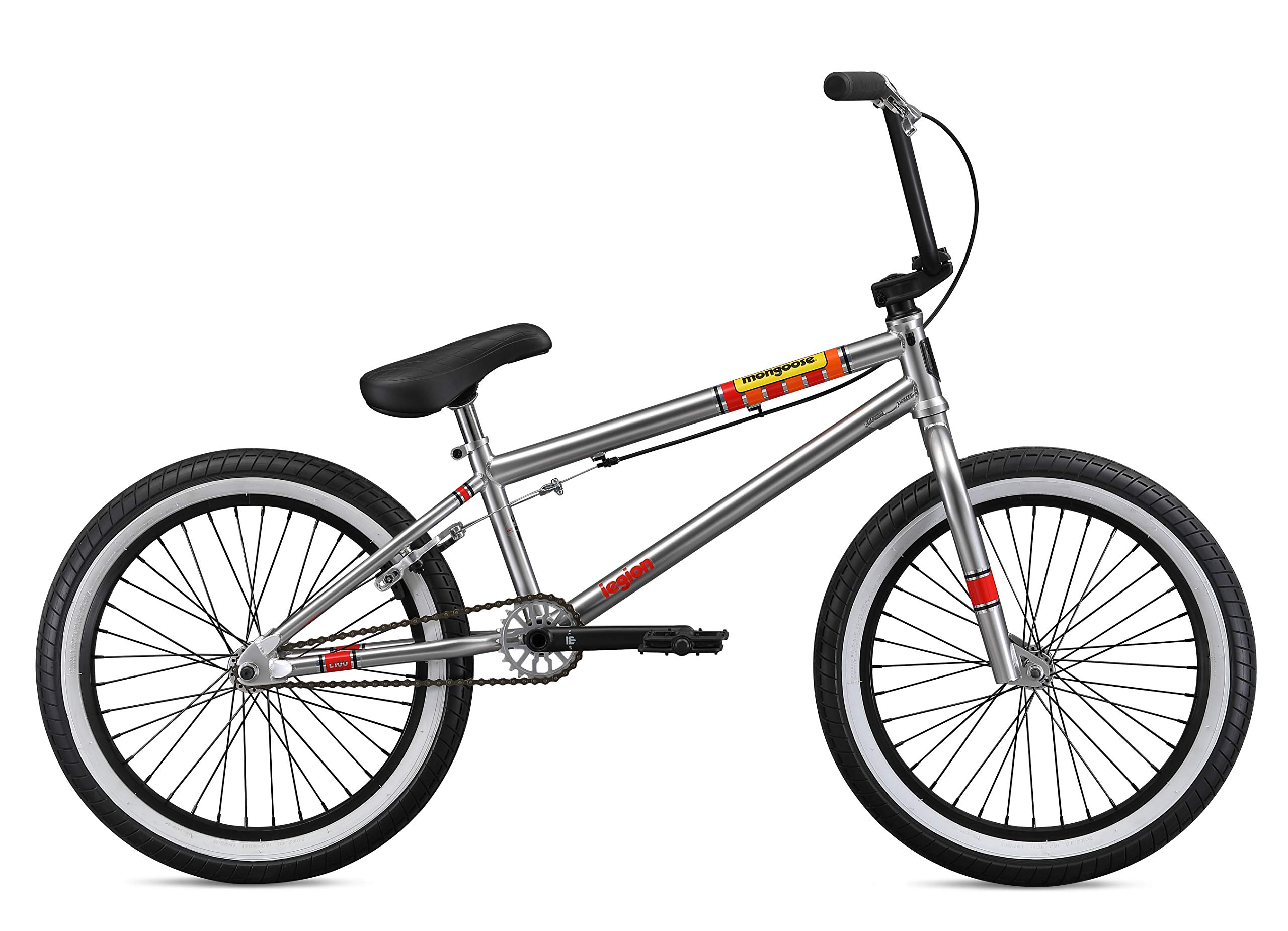 Mongoose Legion L100 Boy's Freestyle BMX Bike, 20 Inch Wheels, Silver