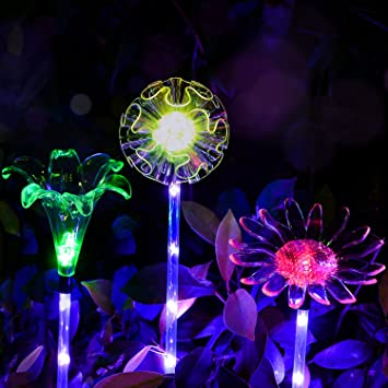 Outdoor Solar Garden Lights   3 Pack Solar Powered Garden Stake Lights With  A Purple LED