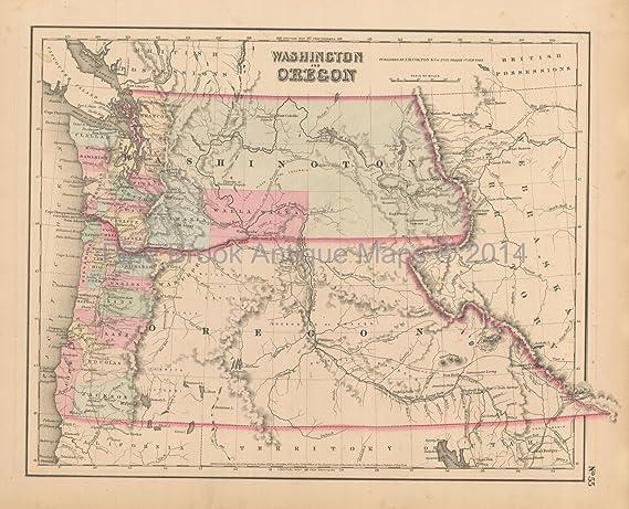 Vintage Oregon Map.Oregon Washington Antique Map Colton 1858 Original Decor History