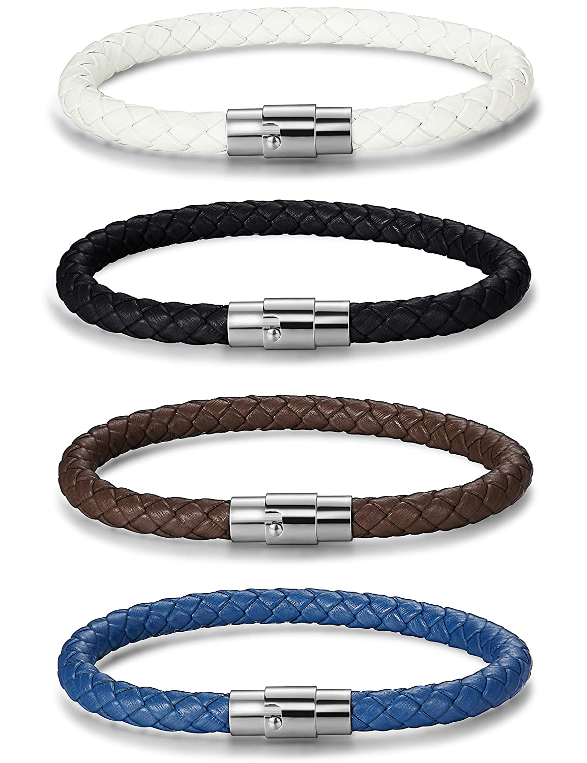 FUNRUN JEWELRY 3-4PCS Stainless Steel Leather Bracelet for Men Women Braided Rope Wrist Cuff Magnetic Clasp 6MM 7.5-8.5 Inches PSLB2010V19.5