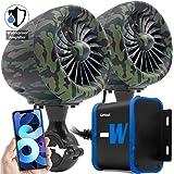 """GoHawk TJ4-W Camo Green Waterproof Amplifier 4"""" Full Range Bluetooth Motorcycle Stereo Speakers 1 to 1.25 in. Handlebar Mount"""