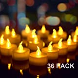 "36 Pack Flameless Battery Operated Tea Lights, Amagic Small Electric Tealight with Amber Yellow Flickering Bulb, LED Plastic Candle for Holiday & Home Decoration, ""1.4 x 1.3"", White"