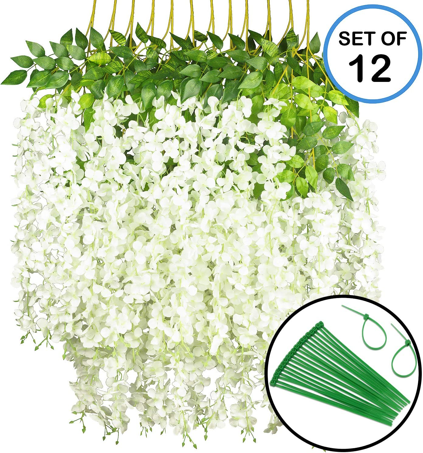 GPARK 12 Pieces Wisteria Artificial Flower 45 inch Bushy Silk Vine Ratta Hanging Garland Hanging for Wedding Party Garden Outdoor Greenery Office Wall Decoration Milk White
