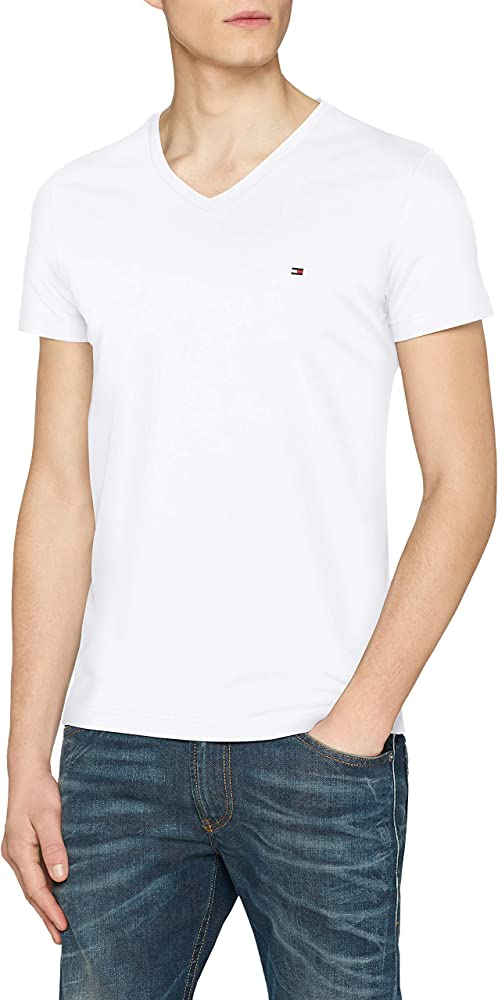 Tommy Hilfiger Core Stretch Slim Vneck tee Camiseta, Blanco ...