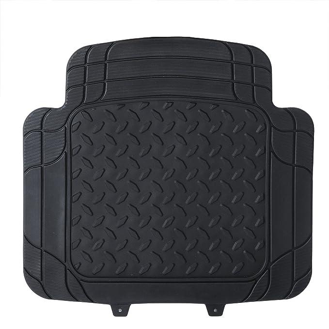 eSituro Alfombrillas de Goma para Coche Universal Alfombras Moqueta para Automovil Antideslizantes Impermeable 4 Piezas Negro SCM0101