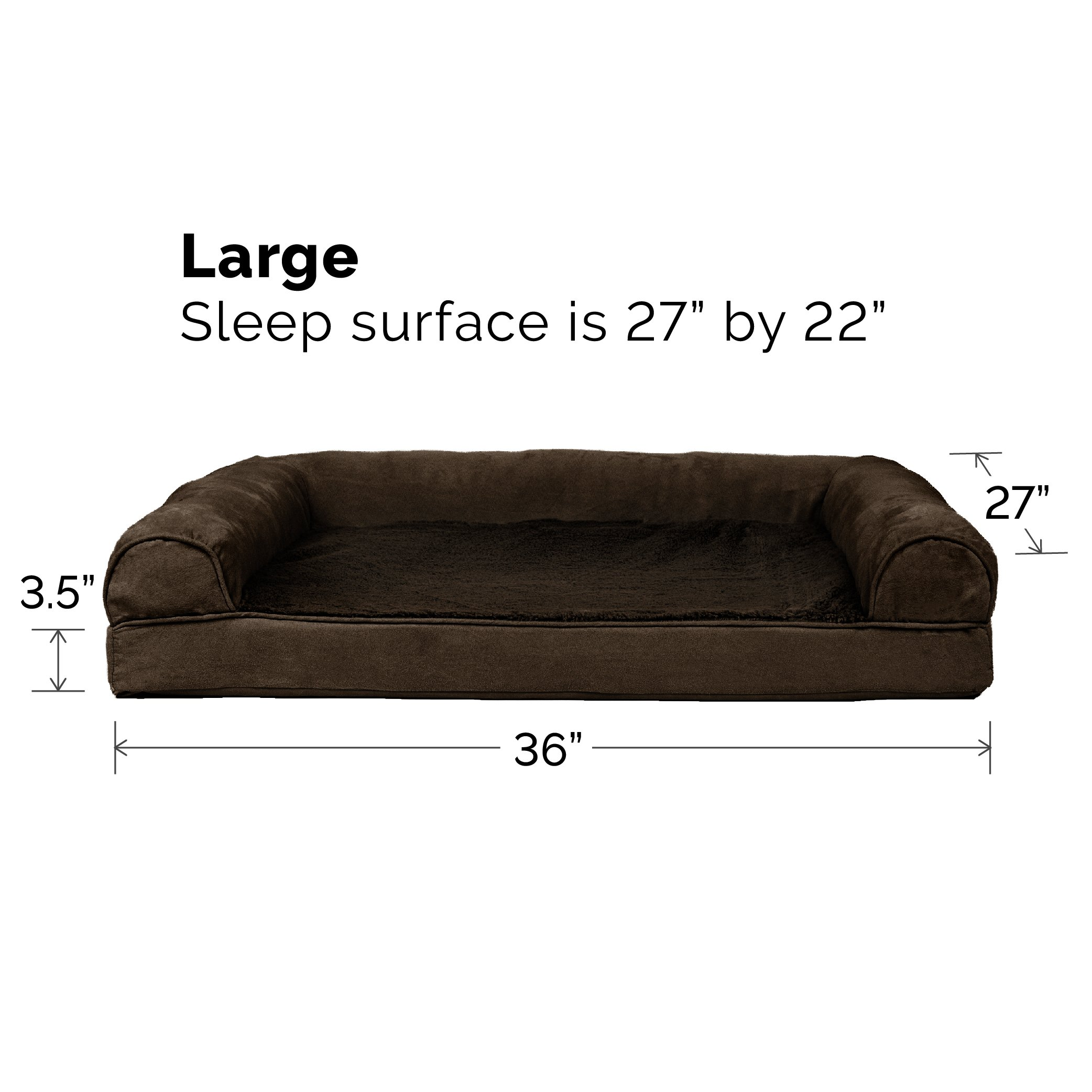 FurHaven Orthopedic Ultra Plush & Velvet Sofa-Style Couch Pet Bed for Dogs and Cats, Espresso, Large by Furhaven Pet (Image #6)