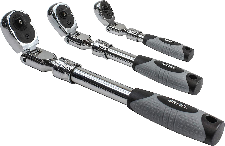 Extra Long Flex Head Spline Ratcheting Wrench Set Ezred EZ RED NR5M 5 Pc